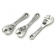 10 x Antique Silver Spanner Wrench Charm Pendants